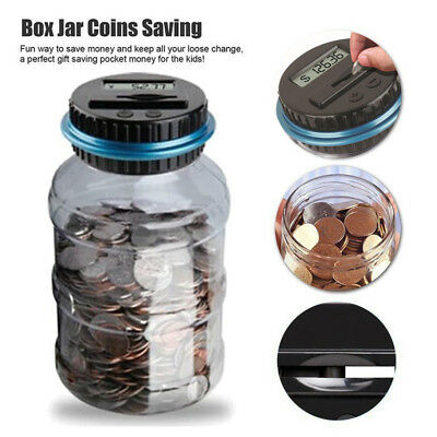 Clear Digital Coin Savings Piggy Bank Counter LCD Counting Money Coin Jar Gift