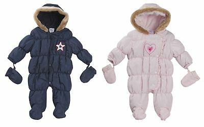 Baby Boys Girls Hooded Snowsuit Quilted Pramsuit All In One Coat + Mittens Size