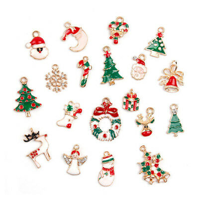 19PCS Christmas Santa Claus Snowman Mix Charms pendants DIY Jewellery Crafts AU