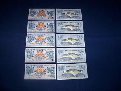 Lot of 20 Bank Notes from Bhutan. 1 Ngultrum