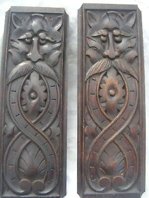 Arts & Crafts Period, Two Carved Wooden Panels.