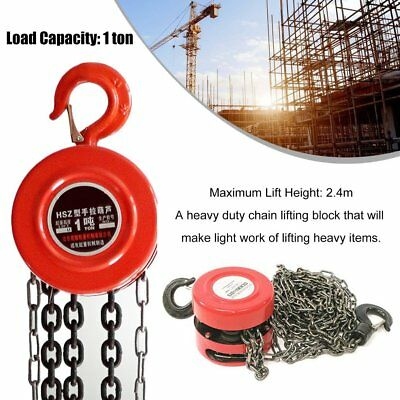 1 Ton Chain Block Hoist Heavy Duty Tackle Engine Lifting Pulley UK Free Delivery