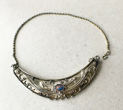Solid silver and opal bracelet or choker necklace
