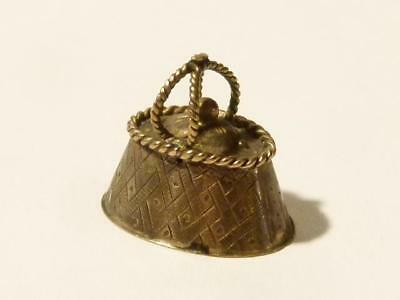 Vintage Pastry Pie - Handbag - Sewing Basket Miniature Shape Silver CHARM #J8 *