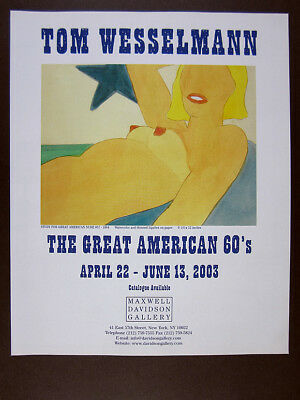 2003 Tom Wesselmann The Great American 60's exhibition vintage print Ad
