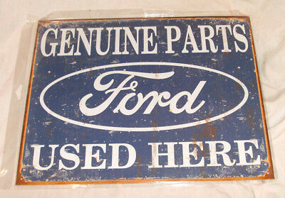 12.5X16 FORD GENUINE PARTS USED HERE BLUE/WHITE Tin Metal Sign *NEW
