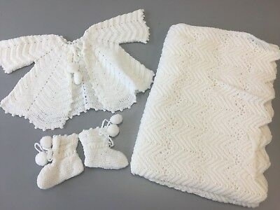 Hand Knit Sweater Blanket Booties Infant Baby White Soft Handmade New