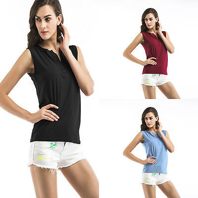 Women Sleeveless Tops T-Shirt Vest Solid Color Tank Top Cocktail Party Blouse