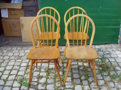 Set Of 4 Vintage Light Wood 'ercol' Windsor Chairs