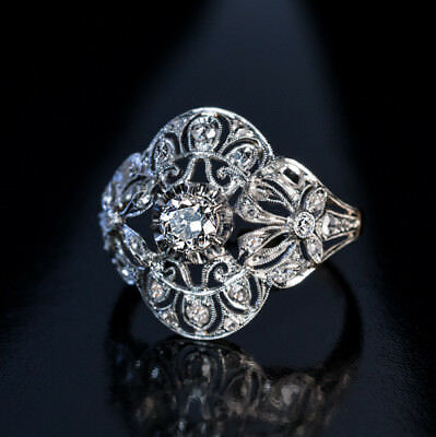 Antique 1.2 Ct Diamond Engagement Late Edwardian Early Art Deco Ring Era 1905's