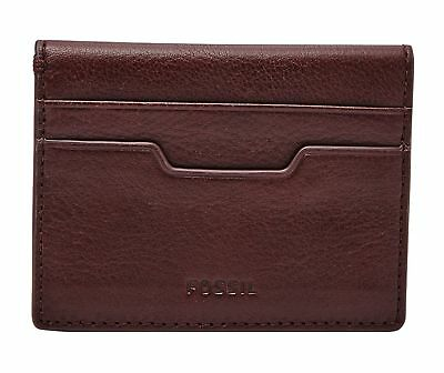 Nwt Fossil Ellis Wine Red Grey Leather Clutch Wallet