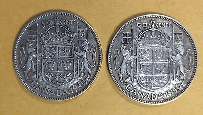Lot of 2 1940 A Uncirculated Canadian Silver Half Dollar Fifty Cent Coins AU50