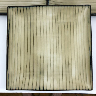 THRESHOLD BAMBOO SQUARE Dinner Plates Lot of 3 Tan Brown Lines ...