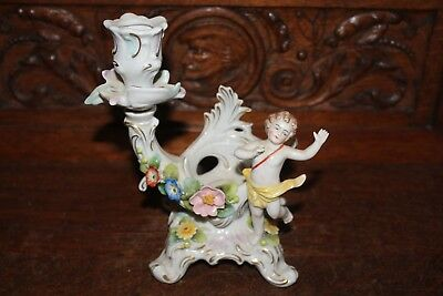 RARE Antique SITZENDORF Single Candle Holder Cherub Putti & Flowers