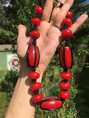 "Antique Art Deco Simichrome Tested Cherry Red Bakelite & Black 18"" Necklace 74g"