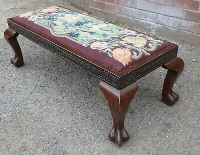 Edwardian antique Chinese solid carved rosewood long duet footstool stool seat