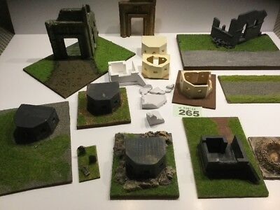 1:72 - 1:87,  1/56  Approx Bunker Pill Boxes. And Ruins  WWII, Diorama.