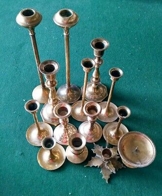 Mixed Lot of 14 Solid Brass Shiny Candlesticks Candle Holders Patina Weddings