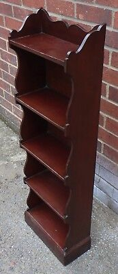 Victorian antique Arts & Crafts fretwork solid mahogany open bookcase bookshelf