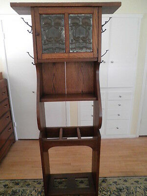 Solid Quartersawn Oak Arts Crafts Mission Hall Tree Umbrella Stand Heavy Rare