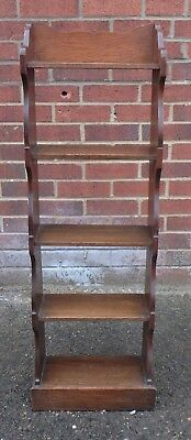 Victorian antique Arts & Crafts solid fret cut oak open library bookcase shelves
