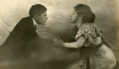 Vintage Artistic Romance Proposal Young Love Lovers Fine Art Girl Old Rppc Photo