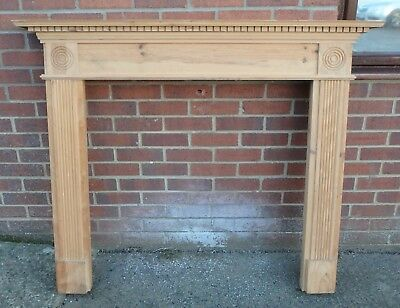 George III antique Adam Classic style carved solid pine fireplace mantlepiece