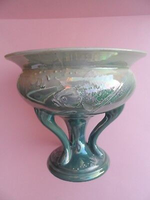 "Superb Shelley Walter Slater ""New Fish"" 8306 tri-stemmed lustre vase. C.1920."