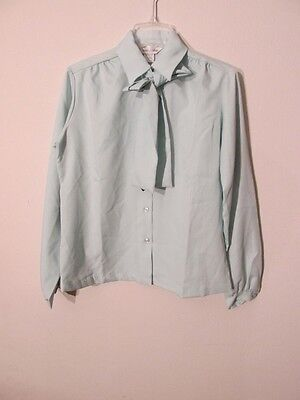 S6889 Vintage 1980's Alice Stuart Women's 16 Blue Scarved Button Up Blouse NWT