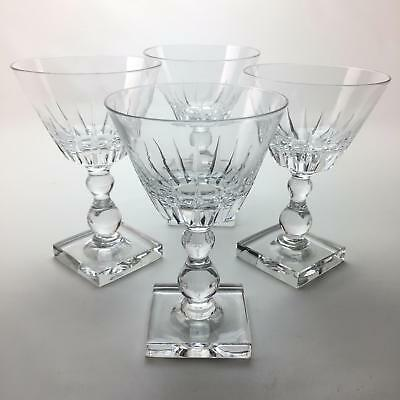 Set of 4 Pairpoint Sunburst Crystal Claret Stemware Glasses 5 3/8 #A