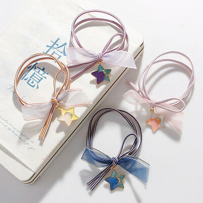Cute Fashion Women Girls Bowknot Elastic Rubber Hair Ties Band Rope Ponytail NEW