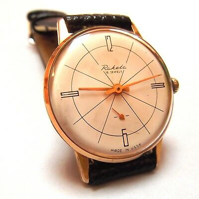 Gold Plated RAKETA vintage watch made in USSR from 1960s   The Russian Beauty