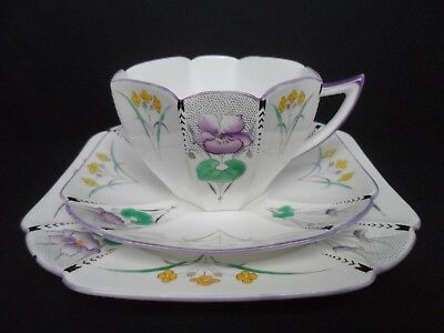 "Superb Shelley Art Deco ""Pansies"" 11629  Queen Anne shape trio. C.1928."