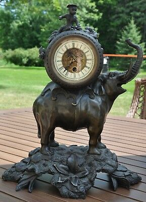 French style large bronze Mantle Clock with an Elephant and Monkey