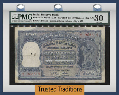 TT PK 42b ND (1949-57) INDIA - RESERVE BANK 100 RUPEES PMG 30 VERY FINE!