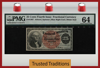 Tt Fr 1307 25 Cents Fourth Issue Fractional Currency Large Red Seal Pmg 64!