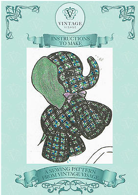 Vintage 1940s 'rag bag'  Jolly elephant toy sewing pattern-with paper pieces