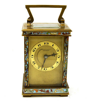 Antique French 8-Day Brass Champleve Enamel Carriage Clock Unrestored