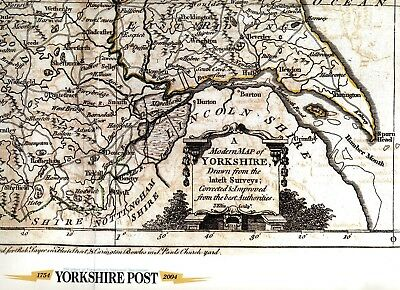 Yorkshire Post 250th Anniv reprint in 2004 of an old Yorkshire Map, MP seats *ed