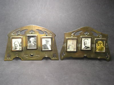 2 Small German Secessionist Jugendstil D.R.G.M Brass Photo Frames Arts & Crafts