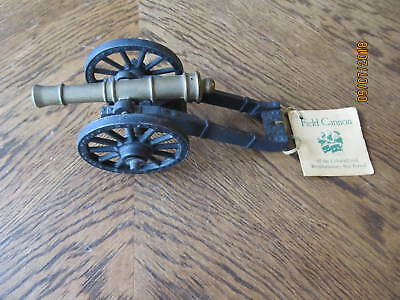 """Vintage Cast Iron & Brass Penncraft Revolutionary War Cannon 6 1/2"""" Long w/Tag"""