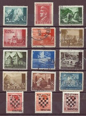 Croatia, WWII Puppet State, Ante Pavelich, Country Scenes, MH, Used, 1941-43 OLD