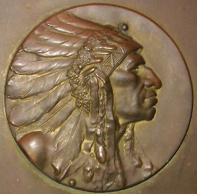 Rare Antique Bookends Robbins Co Attleboro Mass Indian Chief Medallion Medal