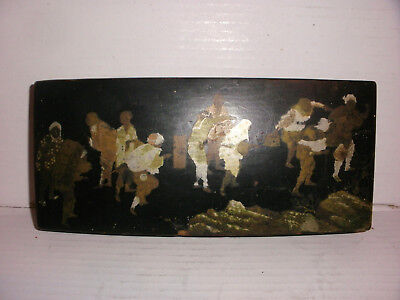 Antique Chinese black lacquered pen wood covered box hand painted figural scene
