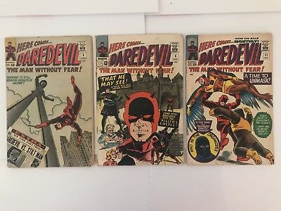 Daredevil Comic Book Run Lot 8-11 MID GRADE  GD/VG 1st Stilt Man, Wally Wood