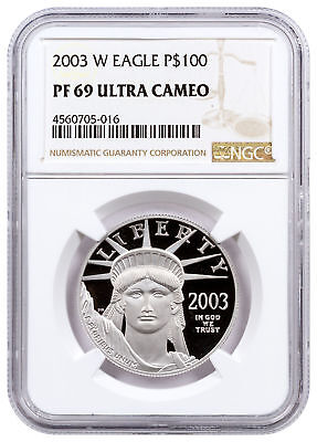2003-W 1 oz Platinum American Eagle Proof $100 NGC PF69 UC SKU16544