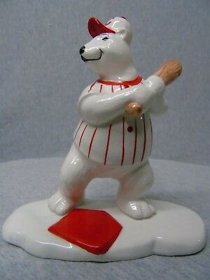 "Coca-Cola Baseball Bear Batter ""Always Playing Baseball"" Figurine n924"