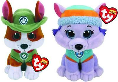 "TY Beanie Baby Boo 6"" Paw Patrol EVEREST Husky & TRACKER Chihuahua Dog Plush Set"