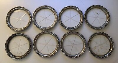 Vintage Lot Of 8 Sterling Silver Crystal Repousse Coasters