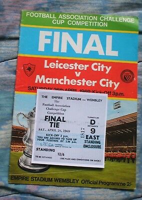 1969 FA Cup Final Leicester City v Manchester City programme/ticket